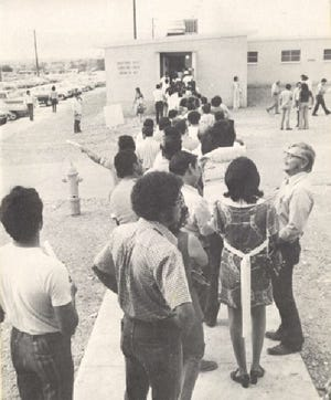 The first El Paso Community College students get in line to register for classes at the first EPCC campus on Fort Bliss.