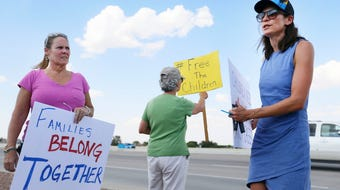 A group from California traveled to El Paso to protest outside of the Border Patrol station Tuesday, June 25, in Northeast El Paso.