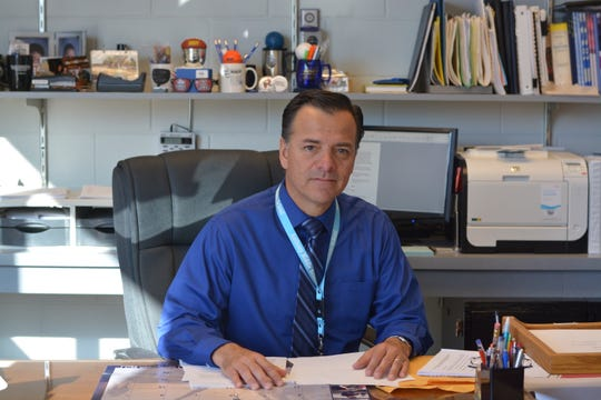 Anthony ISD Superintendent Oscar Troncoso is pictured in his office.