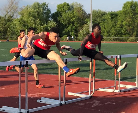 North Rockland's Ryan Curtis (l) and Emmanuel Joseph (r), two of the area's top hurdlers
