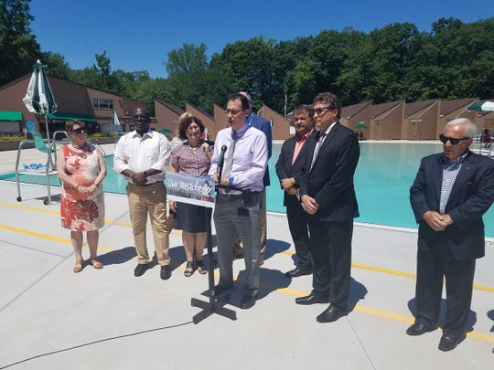 Officials announce June 26, 2019, that Westchester County's Sprain Ridge Pool will reopen. The complex includes a main lap pool, an activity pool and a spray deck for children.