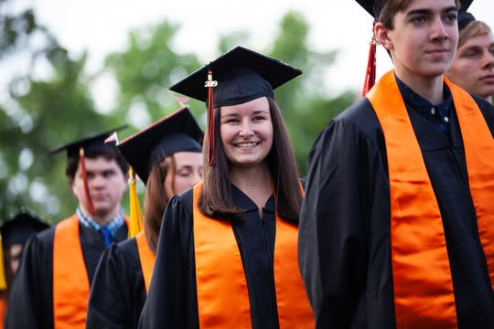 Croton-Harmon High School Class of 2019 graduates celebrate their commencement ceremony in Croton-On-Hudson, June 25, 2019.