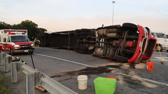 A tractor-trailer was left on its side after flipping over while attempting to enter I-295 from Del. 9 (New Castle Avenue) about 8 p.m. Tuesday.