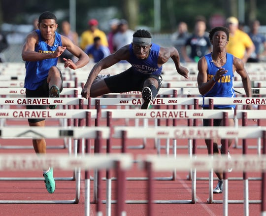 Middletown's Brahmir Vick competes on his way to a win in the 110 meter hurdles during the Rod Lambert Meet of Champions on Wednesday, May 22, 2019 at Caravel Academy.
