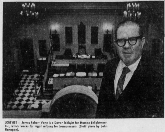 James Robert Vane is a Dover lobbyist for Human Enlightenment, Inc., which works for legal reforms for homosexuals. News Journal file, 1973.