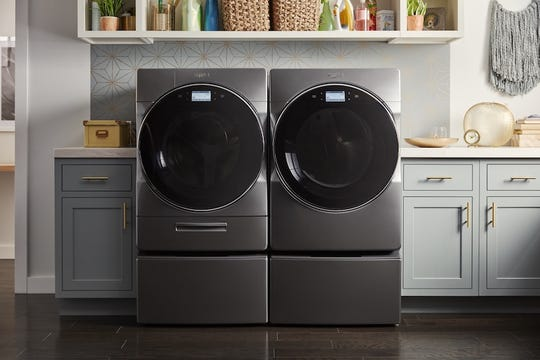 Whirlpool Smart Front Load Laundry Pair uses artificial intelligence (AI) to automatically manage both laundry soap and fabric softener for up to 40 loads on a single fill-up.
