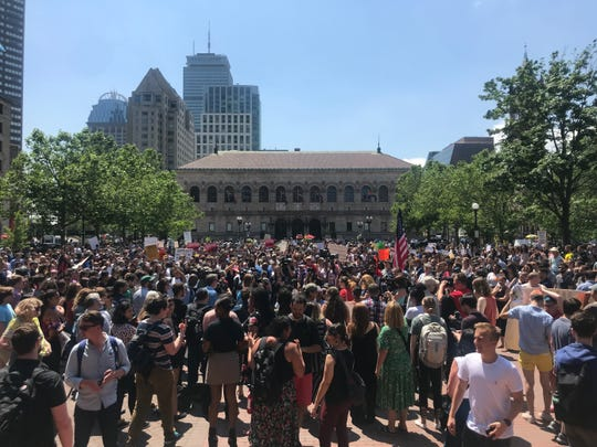 Hundreds gather in Boston's Copley Square to protest Wayfair, the furniture retail giant, for selling beds to a migrant detention center on the southern border.