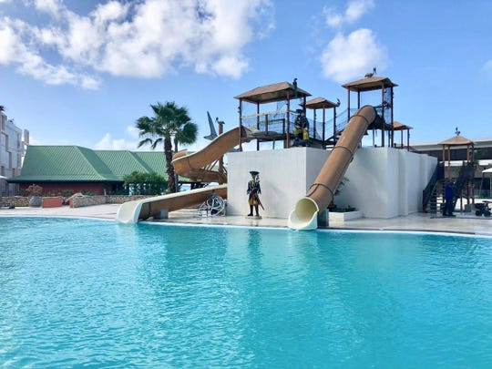 Water slides at Sonesta Maho Beach Resort are fun for kids of all ages.