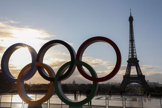 The Olympic rings installed on the Esplanade du Trocadero near the Eiffel tower following the Paris' nomination as host for the 2024 Olympics in Paris. - France Télévisions has obtained the broadcast rights to broadcast the 2024 Summer Olympics taking place in Paris it was announced on April 22, 2019, by France Television President Delphine Ernotte on Twitter.