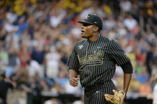 Game 2: Vanderbilt Commodores starting pitcher Kumar Rocker comes off the mound during the sixth inning.
