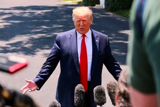 President Trump speaks to the press as he departs the White House in Washington, DC on June 26, 2019. - Trump is traveling to Osaka, Japan, for the G20 Summit.