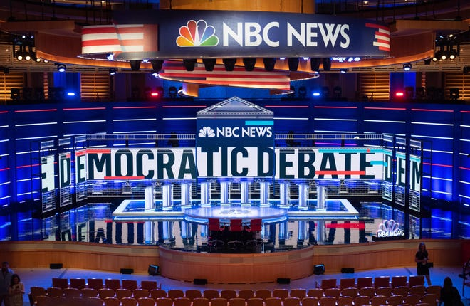 The stage is seen prior to the first Democratic primary debate of the 2020 presidential campaign season at the Adrienne Arsht Center for the Performing Arts in Miami on June 26, 2019.