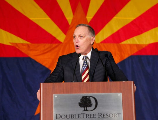 Rep. Andy Biggs addresses the Arizona Republican Party in Scottsdale on election night 2018.