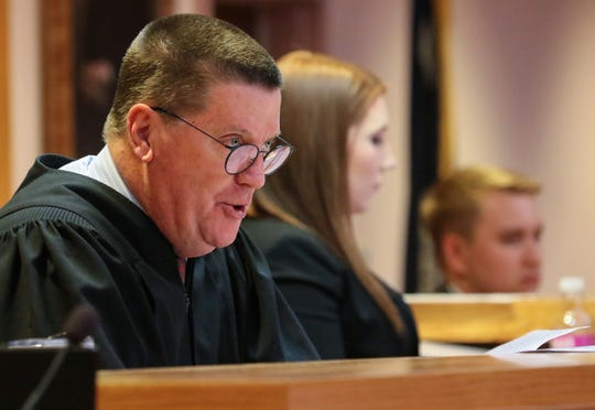 Judge Cordell Maddox speaks from the bench in the Anderson County Courthouse in this 2019 file photo.