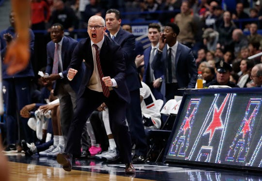 Feb 24, 2019; Hartford, CT, USA; Connecticut Huskies head coach Dan Hurley reacts from the sideline  as they take on the Cincinnati Bearcats in the second half at XL Center. Cincinnati defeated UConn 64-60. Mandatory Credit: David Butler II-USA TODAY Sports