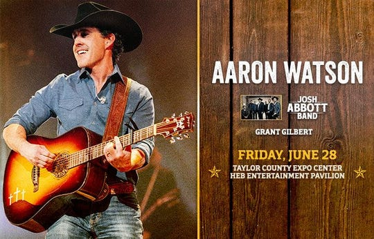 Abilene's Aaron Watson returns for a Friday night show at the Taylor County Expo Center.
