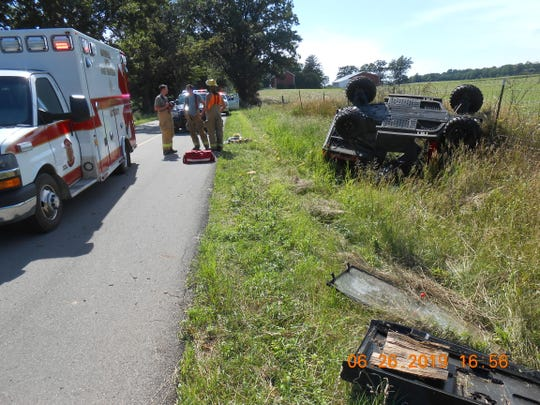 A father and son from Albion where hurt when their off road vehicle rolled over in a ditch.