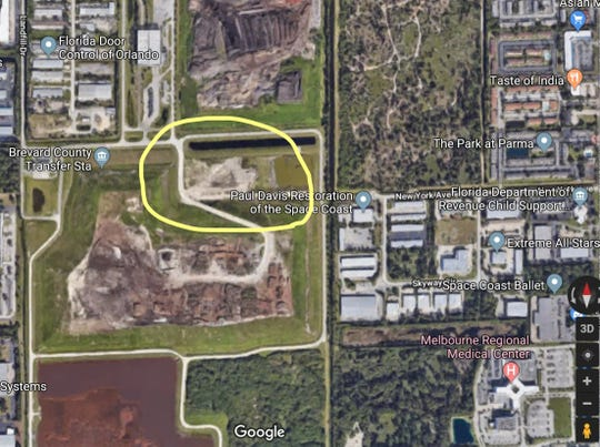 Brevard County wants to heighten a 10-acre section (circled in yellow) of the 91-acre Sarno Road construction debris landfill, to buy more time before the county has to open a new landfill off U.S. 192. But first, the city of Melbourne must approve a zoning change to allow another 41 feet beyond the 40 feet in height currently allowed at the county-owed landfill.