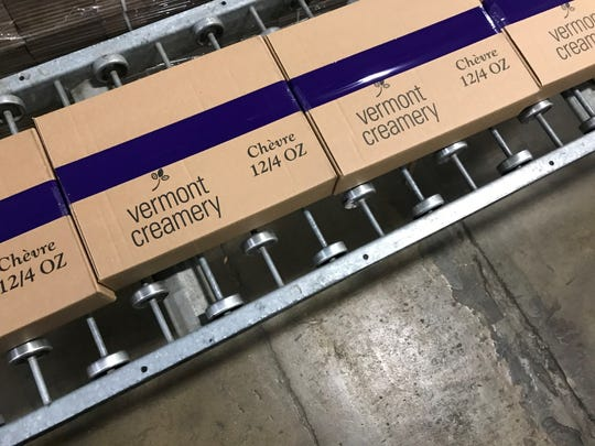 Boxes of goat cheese coming off the assembly line at Vermont Creamery in Websterville.