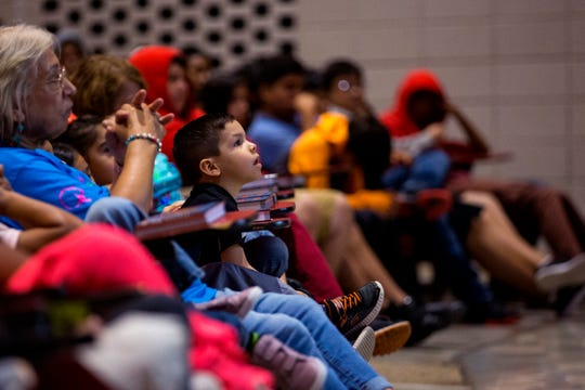 "Students in the Robstown Independent School District's Summer School Academy listen as Diana Lopez, author of ""Coco, A Story About Music, Shoes, and Family,"" speaks on Thursday, June 27, 2019. About 300 students heard from Lopez about her experience as a writer and also the importance of reading."