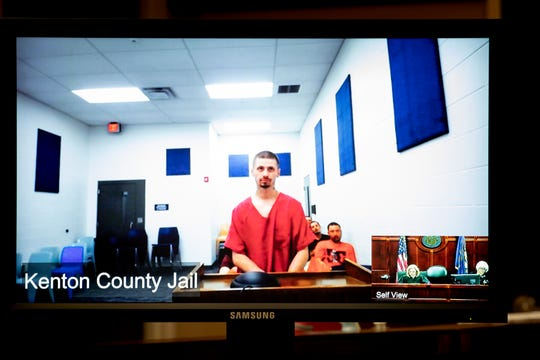 Jacob Julick is arraigned in Courtroom 1A in the Kenton County Justice Center via video conference from the Kenton County Jail on charges of attempted murder of police officer, possession of a handgun by convicted felon, fleeing police and persistent felony offender in Covington Thursday, June 27, 2019. Julick was captured Tuesday evening after a SWAT standoff on McHenry Avenue in Cincinnati's West Side after a nearly three-week police search. Julick is being held on a $1 million bond.