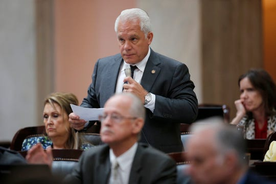 Representative Phil Plummer makes a statement in the House of Representatives at the Ohio Statehouse in downtown Columbus, Ohio, on Wednesday, June 26, 2019.