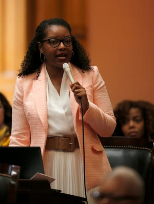 Representative Emilia Sykes, house minority leader, makes a statement in the House of Representatives at the Ohio Statehouse in downtown Columbus, Ohio, on Wednesday, June 26, 2019.
