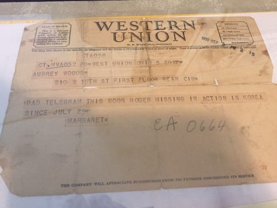 A Western Union telegraph from 1950 sharing news the Roger Woods was missing in action in Korea.