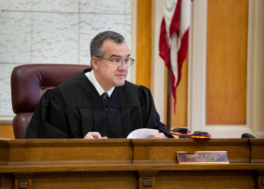 Scioto County Common Pleas Judge Mark Kuhn sits on a case March 1, 2019. Kuhn is a former prosecutor. He became a judge when Judge William T. Marshall abruptly retired last year.
