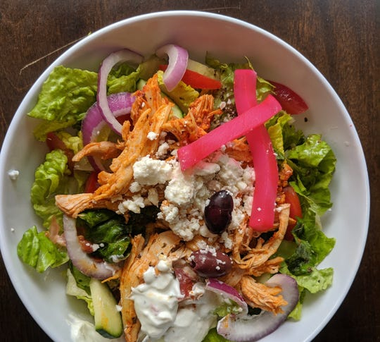 The Chicken Shawarma Salad at Gazali's Mediterranean Grill.