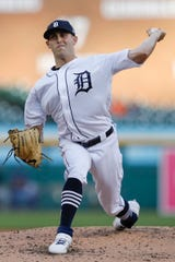 Matthew Boyd pitches during the fifth inning against the Rangers at Comerica Park.