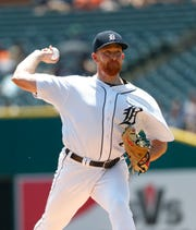 Tigers pitcher Spencer Turnbull throws against the Texas Rangers in the first inning of a baseball game in Detroit, Thursday, June 27, 2019.
