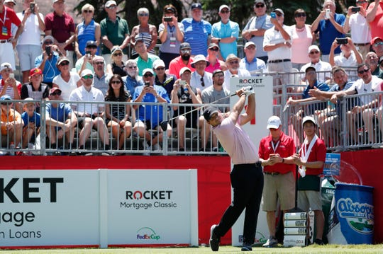 Patrick Reed off at the 1st hole during the Rocket Mortgage Classic at the Detroit Golf Club in Detroit on Thursday, June 27, 2019.