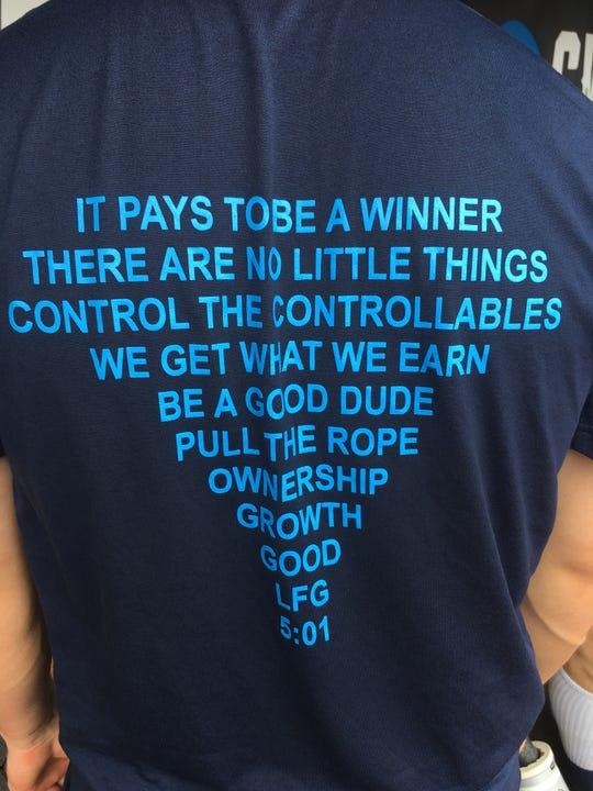 A look at the back of the Michigan baseball warm-up T-shirt.