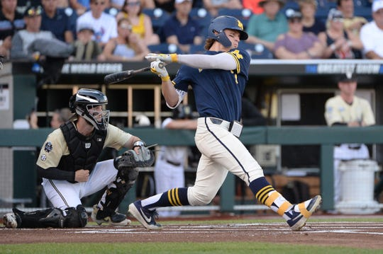 Michigan center fielder Jesse Franklin singles during the first inning against Vanderbilt in Game 3 of the championship series of the 2019 College World Series in Omaha, Neb., Wednesday, June 26, 2019.