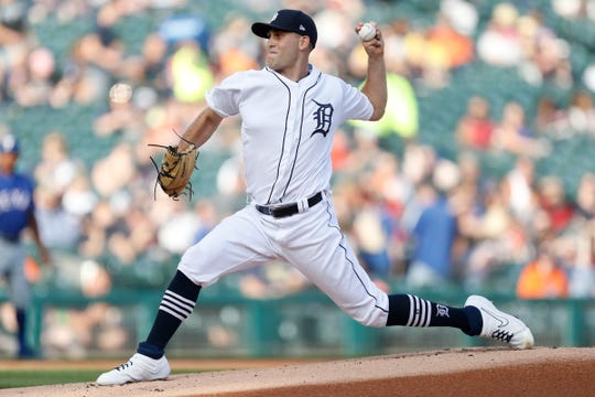 Detroit Tigers' Matthew Boyd pitches during the first inning against the Texas Rangers at Comerica Park on June 26, 2019 in Detroit.