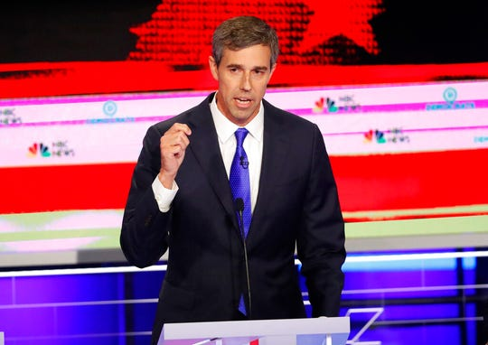 Democratic presidential candidate former Texas Rep. Beto O'Rourke speaks at a Democratic primary debate.