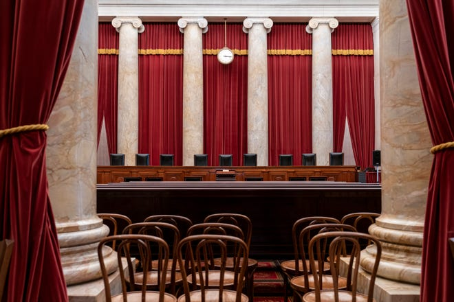 The empty courtroom is seen at the U.S. Supreme Court in Washington