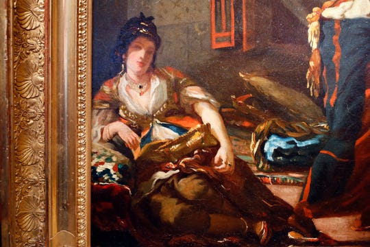 """A detail of Eugene Delacroix's oil painting """"Women of Algiers in their Apartment."""""""