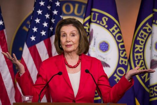 House Speaker Nancy Pelosi of Calif., speaks during her weekly media availability on Capitol Hill, Thursday, June 27, 2019 in Washington.