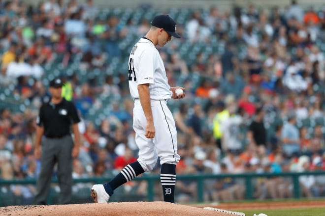 Detroit Tigers pitcher Matthew Boyd walks to the mound after allowing a Texas Rangers' Danny Santana solo home run in the fifth inning.