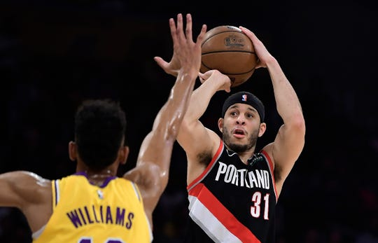 Portland Trail Blazers guard Seth Curry is a consistent 3-point shooter who would fit in with the Pistons' second unit.