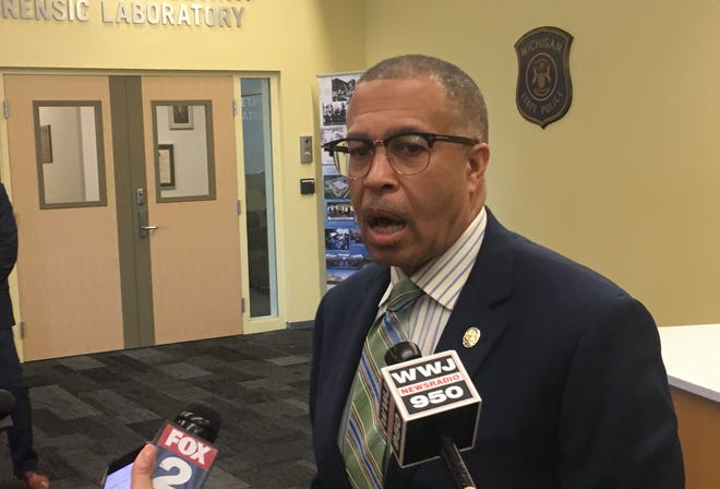 Detroit police chief James Craig addresses the media regarding use of facial recognition software.