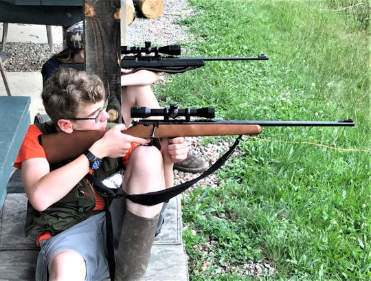 Sullivan's Sharpshooters team member Ron Burns practices target shooting with his .22-caliber rifle at the Chemung County Rod & Gun Club in Breesport. The club will host a major NRA youth shooting championship in July.