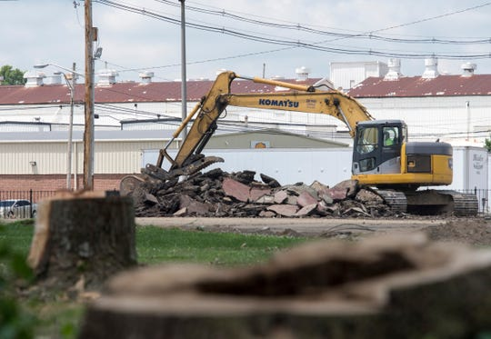 Ground clearing continues in Garvin Park to make way for the new Deaconess Aquatic Center Thursday, June 27. 2019.