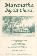 A program from Maranatha Baptist Church in Plains, Ga. where President Jimmy Carter teaches Sunday school.