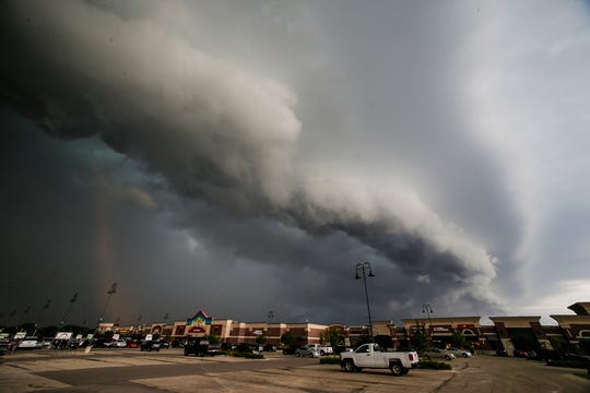 A shelf cloud associated with a severe thunderstorm warning approaches Thursday, June 27, 2019 near the east side of Fond du Lac Wis. Scattered reports of trees and wires down resulted from the storm.. Doug Raflik/USA TODAY NETWORK-Wisconsin