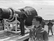 Boy Scouts stand near a NASA space capsule in Fort Collins in 1967. Two years later, American astronauts would land on the moon.
