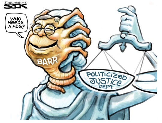 Bill Barr covers Lady Liberty's face.