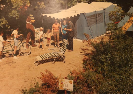 Yogi Bear visits with campers at Door County Jellystone Park in the photo from the 1970s. The Door County campground, the first in the Jellystone network, celebrates its 50th anniversary this weekend, and Yogi continues to visit campers daily.